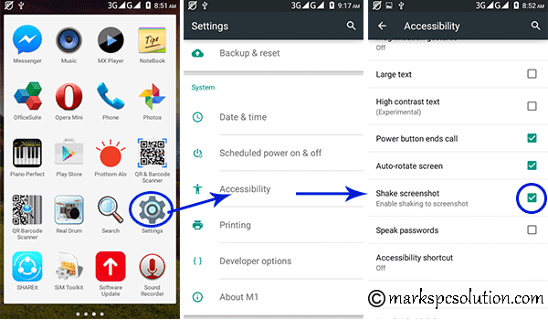 Enabling Shake Screenshot in an Android Phone