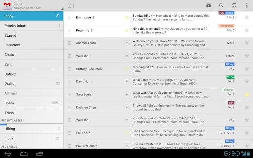 Gmail App Update Add Ice Cream Sandwich Features To Honeycomb Tablets