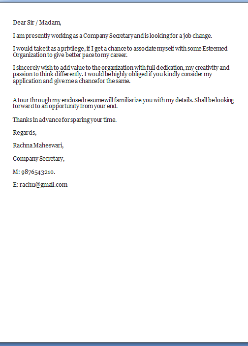 Job Application Letter Secretary