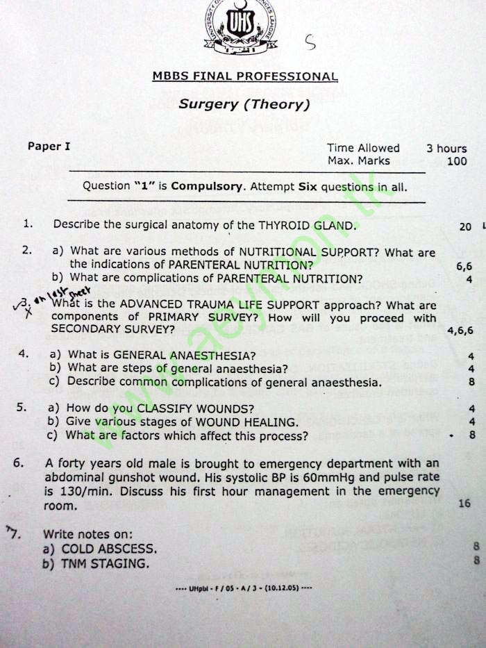 Uhs Past Papers Surgery Theory