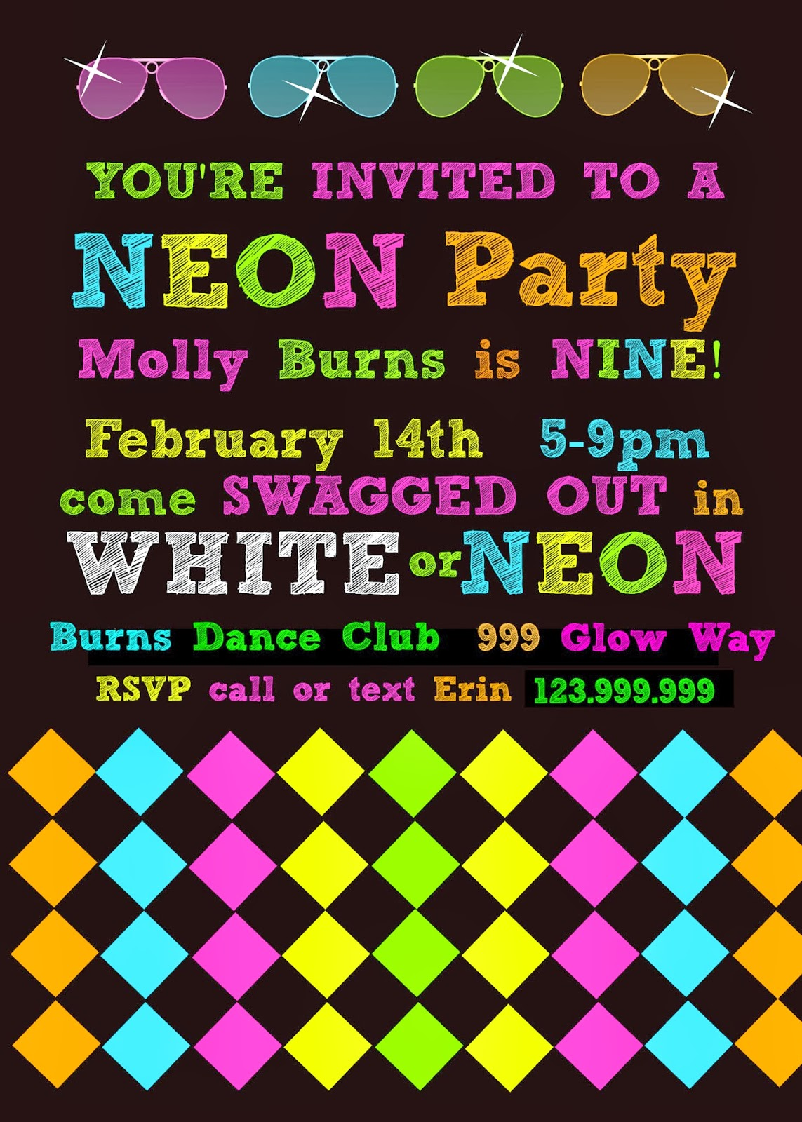 Bringing Up Burns Mollys NINTH NeonGlow in the Dark Dance – Glow Birthday Party Invitations