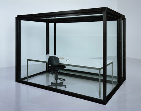 chair,table,cigarette,ashtray and lighter in black framed glass case