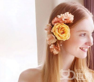 Straigh Hair with Flower accessory