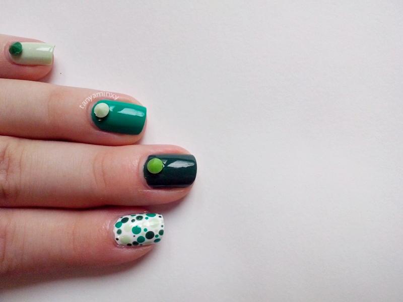 Green Ombre Diamonds Studs Dots Nails Nail Art Nail Design Born Pretty Store