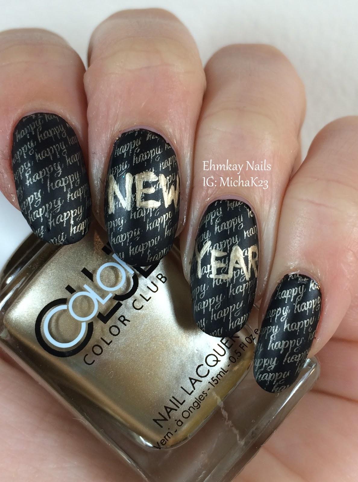 Ehmkay nails happy new years eve nail art stamping happy new years eve nail art stamping prinsesfo Choice Image