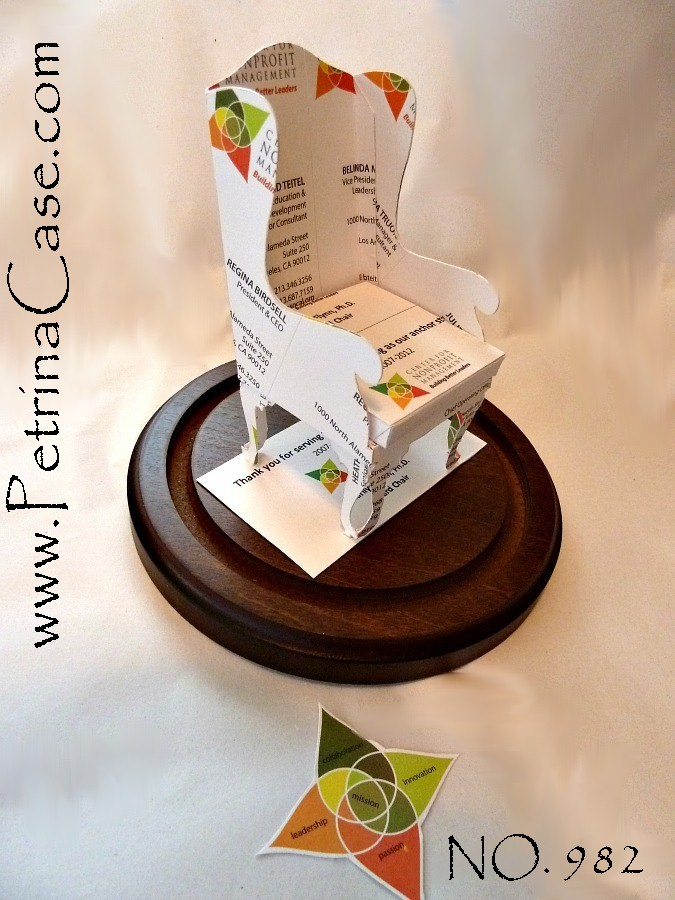 Petrina Case Studio: Wingback Chair Business Card Sculpture Design 982
