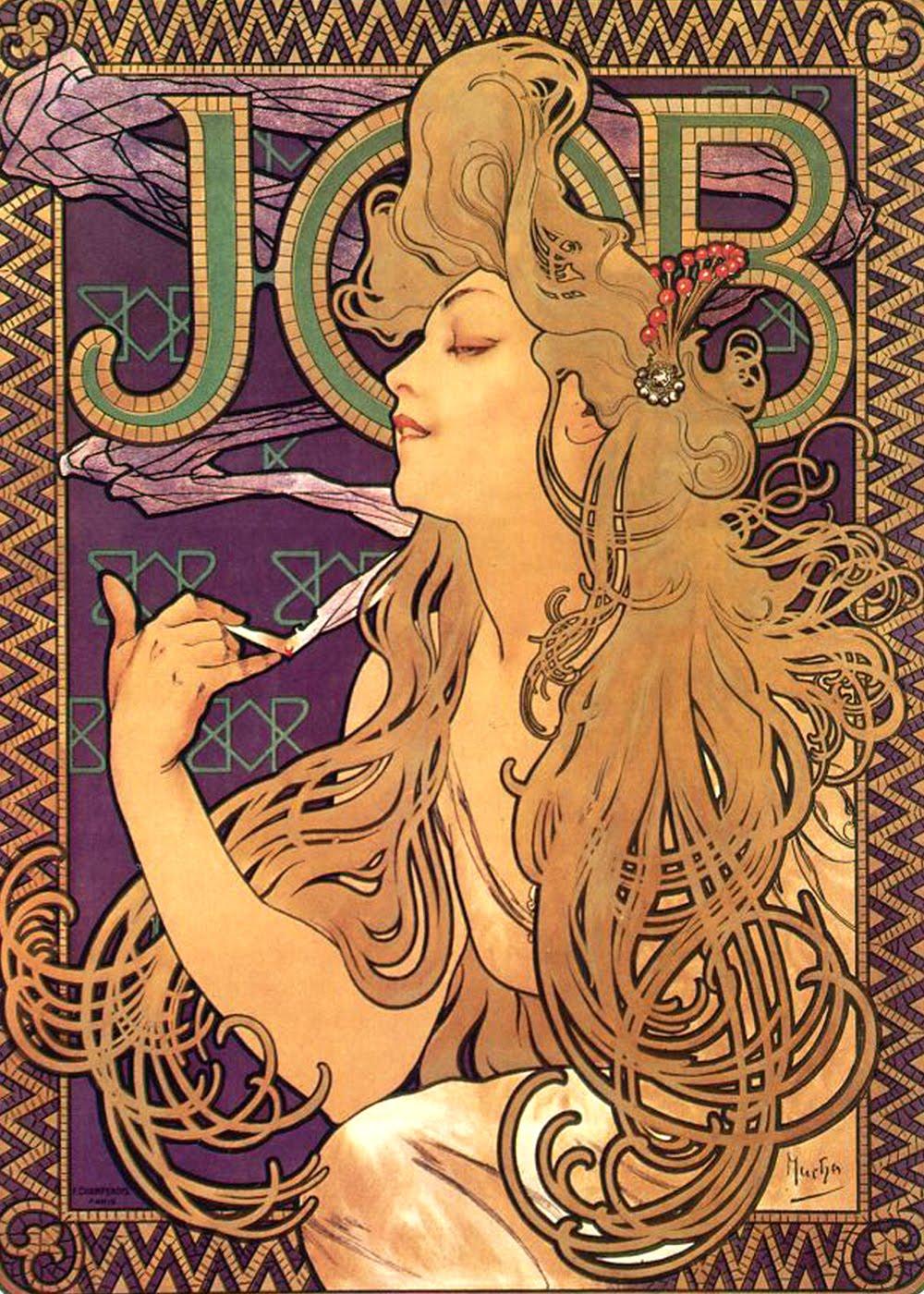 Lettura dell immagine il manifesto art nouveau alphonse mucha job