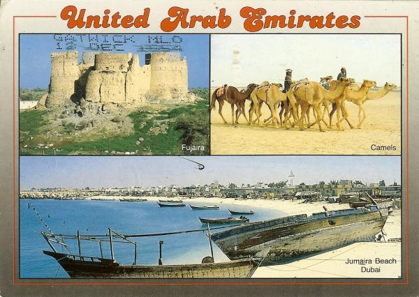 three views of United Arab Emirates - Fujaira fort, camels, Jameirah beach