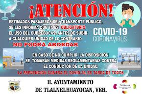 TLALNELHUAYOCAN DECRETA USO OBLIGATORIO DE CUBRE-BOCAS EN EL TRANSPORTE PÚBLICO