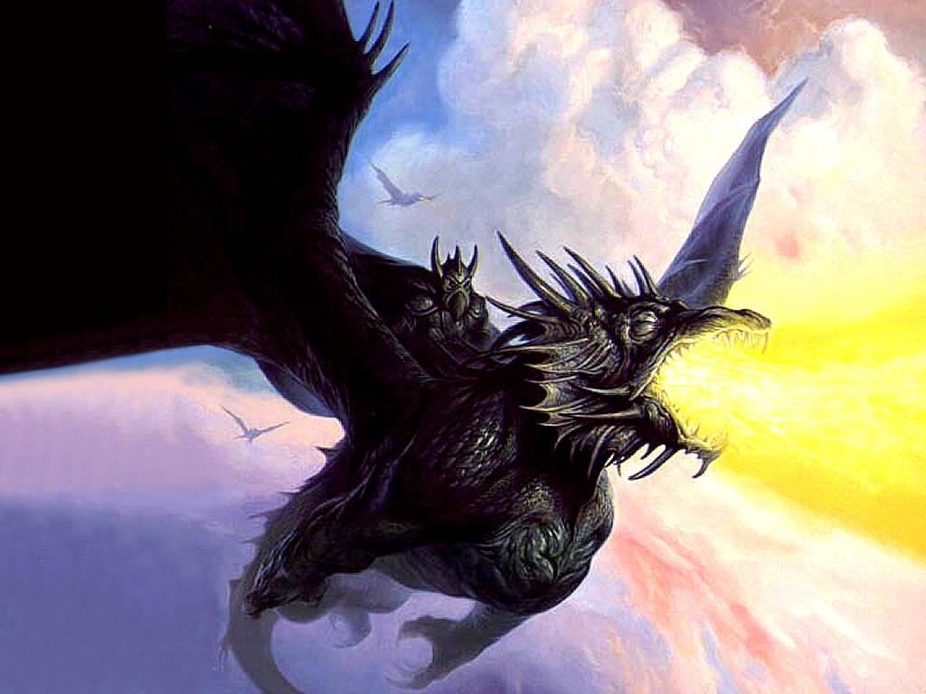 Cartoon Picture Black Dragon Wallpaper
