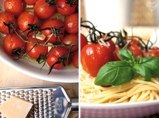 dreierlei liebelei fr hlingspasta mit karamellisierten cherry tomaten. Black Bedroom Furniture Sets. Home Design Ideas