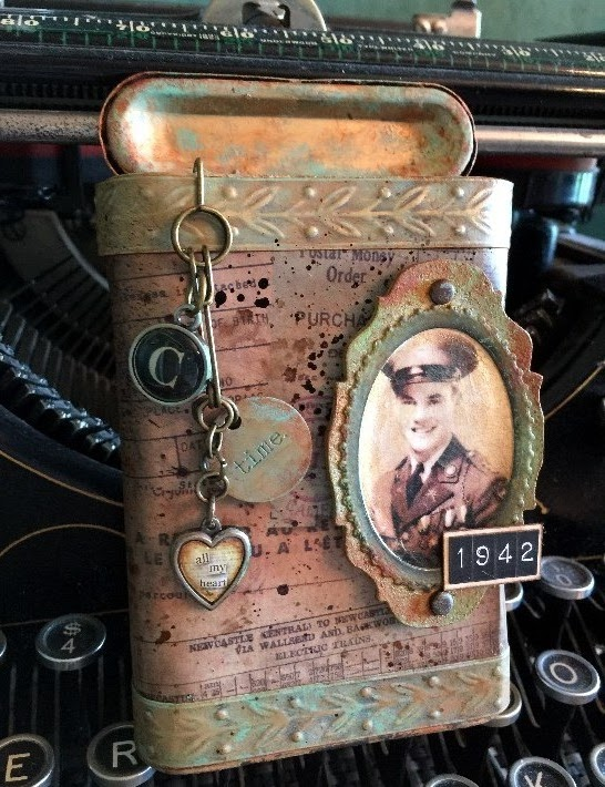 tim holtz altered surfaces technique, altered vintage tobacco tin