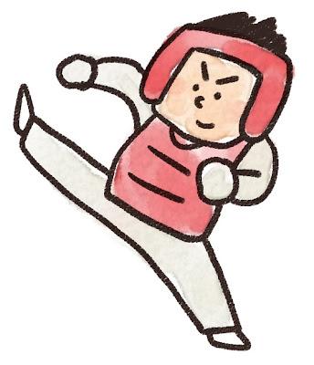 テコンドー選手のイラスト「キック!」
