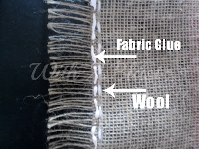 With A Blast: Burlap & Lace Table Runner - with wool stitch & reinforced border   #diy # crafts #burlap #tablerunner #burlaptablerunner