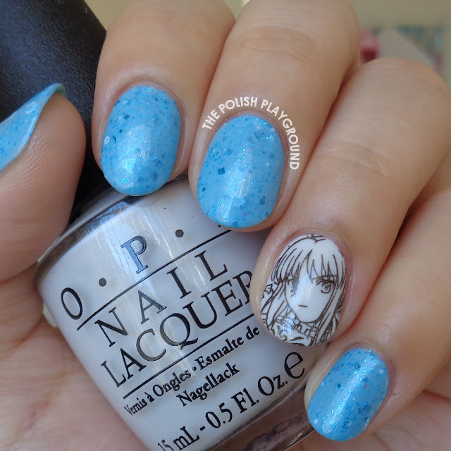 Blue Crelly with Anime Stamping Accent Nail Art