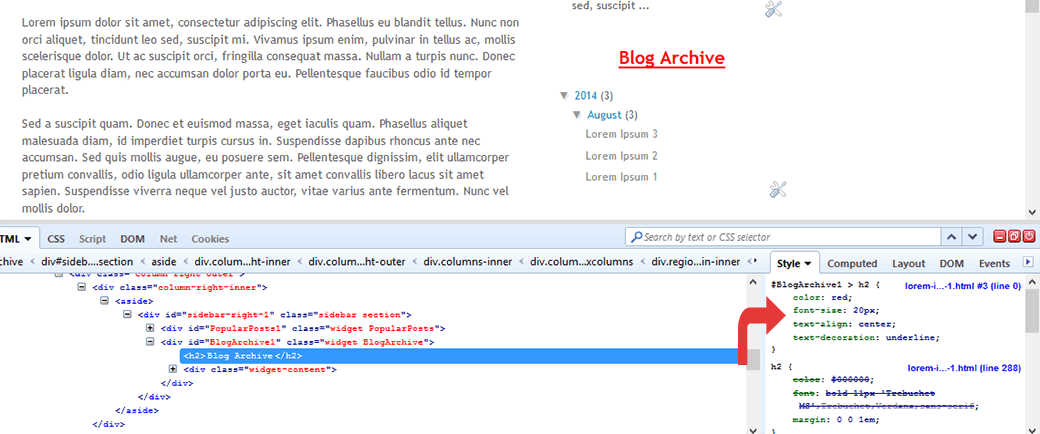 modify blogger css with firebug