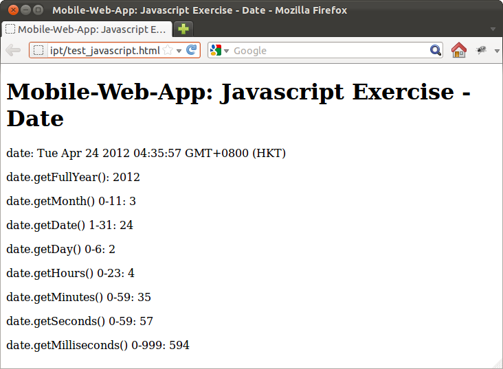 Javascript dates