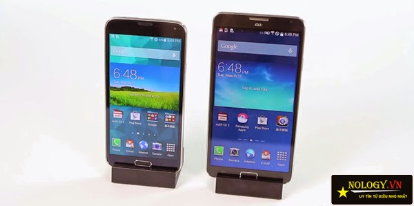 So sánh Samsung Galaxy Note 3 cũ và Samsung Galaxy S5 Au.