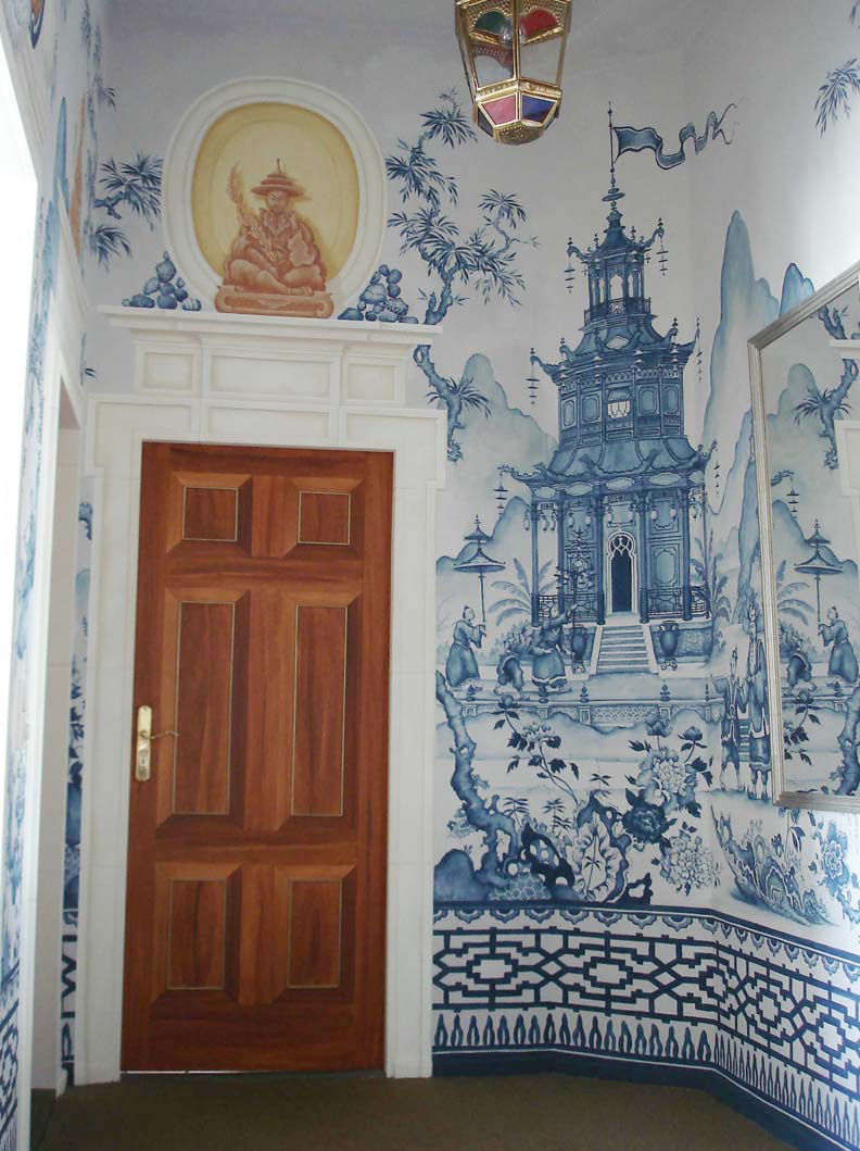 The pink pagoda blue and white monday beautiful for Chinoiserie wall mural