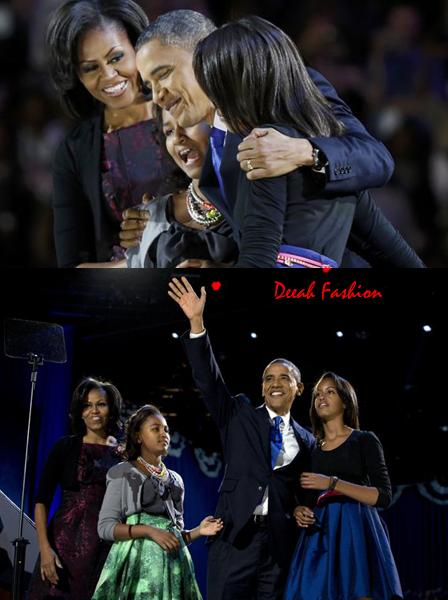 Gaya Busana Kemenangan Obama, Michelle, Sasha dan Malia (Presiden Terpilih 4 Tahun Kedepan)