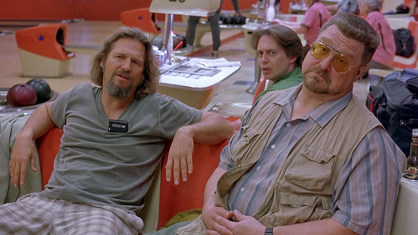 The Dude, Donny and Walter played by Jeff Bridges, Steve Buscemi and John Goodman respectively