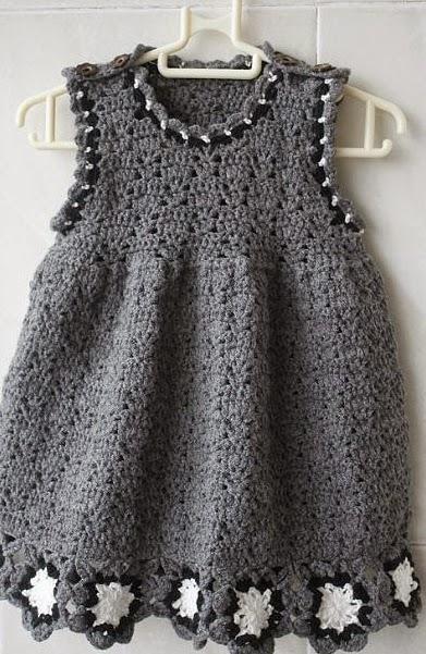 Vestido Gris de Bebe Crochet