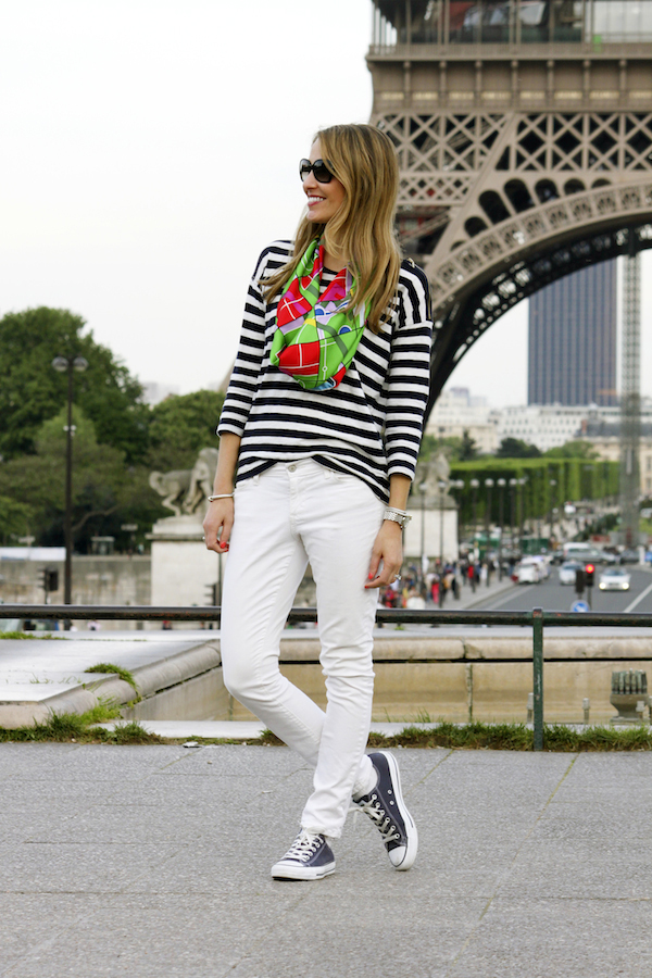 Striped shirt, Hermes scarf & Chuck Taylors at the Eiffel Tower