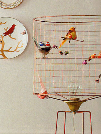 Lilbitbrit dreaming of cottages and cream teas bird for Suspension luminaire cage