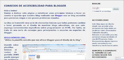 La imagen muestra la página de accesibilidad del blog y una serie de reglas.