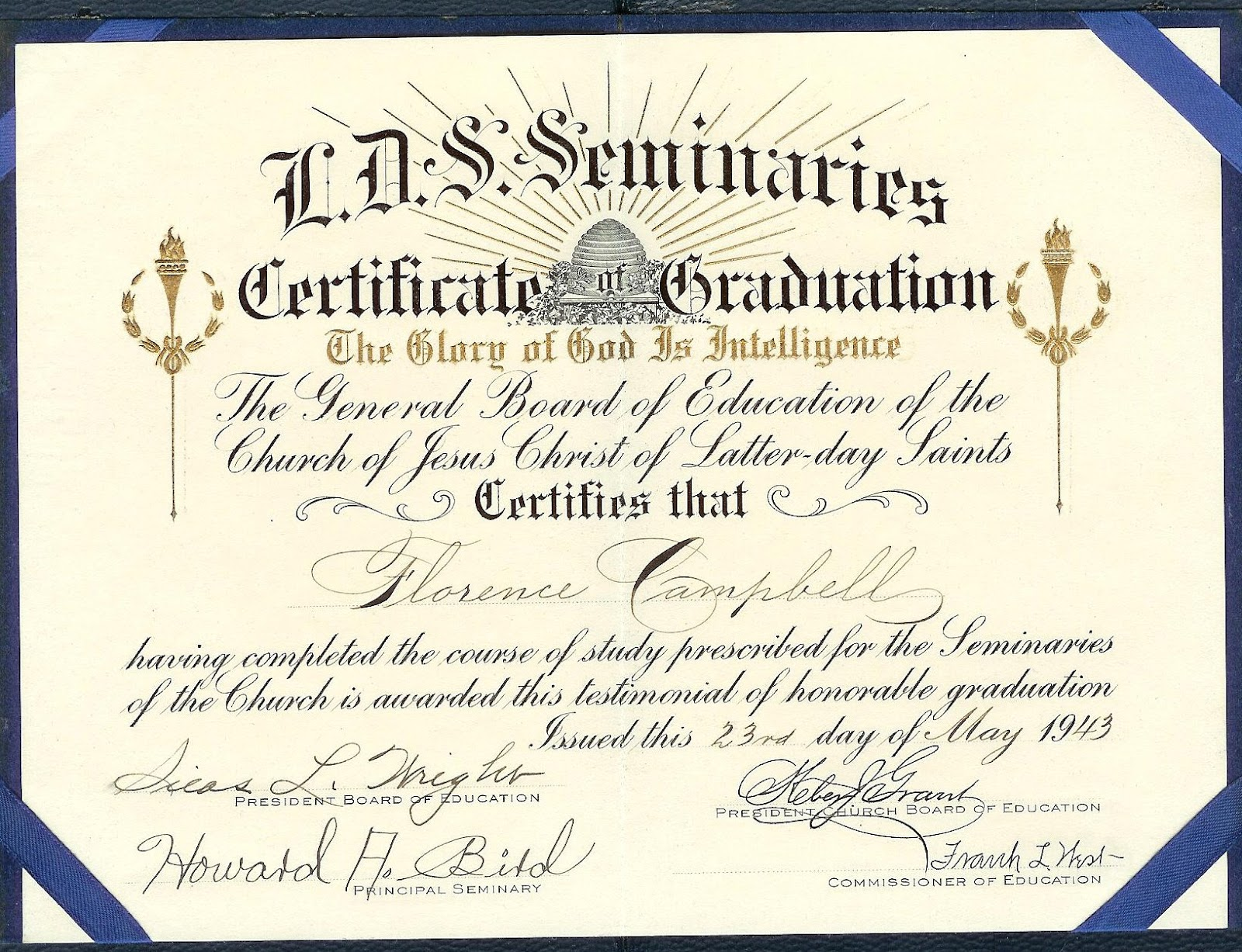 Remembering generations past march 2012 lds seminary certificate of graduation of florence campbell may 23 1943 xflitez Images