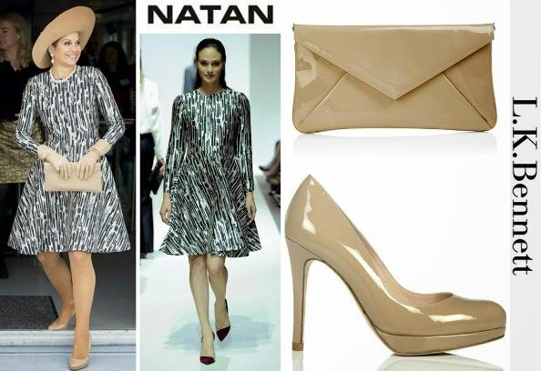 Queen Maxima's NATAN Dress, LK BENNETT Clutch Bag and Shoes