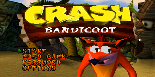 Crash Bandicoot title screen