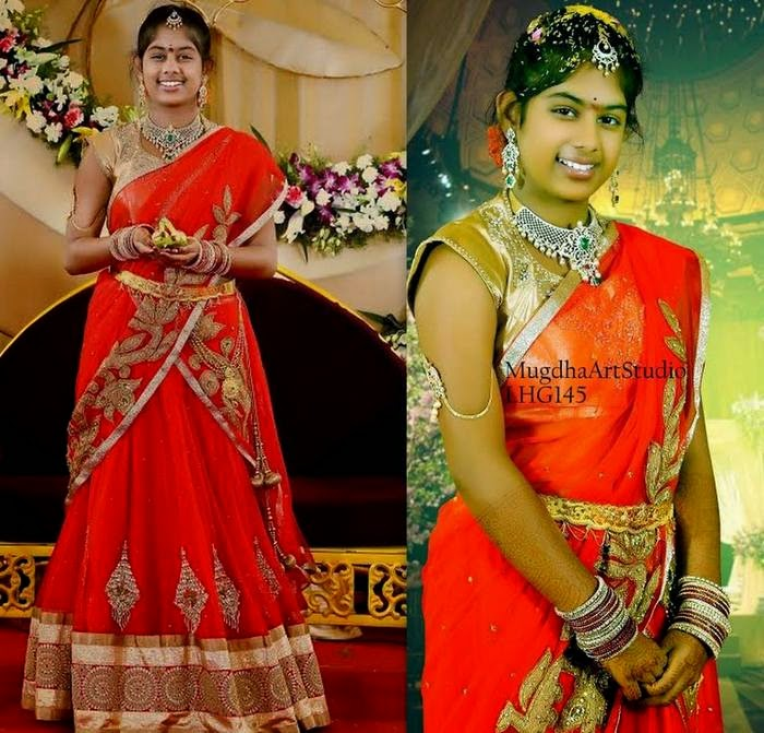 Orange Gold Work Half Saree
