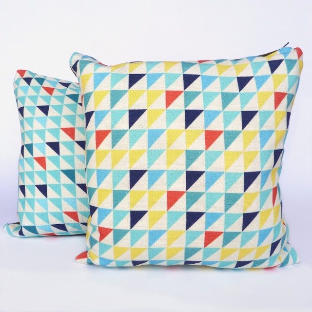 geometric, flags, triangles, print, print and pattern, flouro, fluro, brights, geometry, cushion, linen, handmade, Butterscotch & Beesting, Circus, homewares, circus homewares