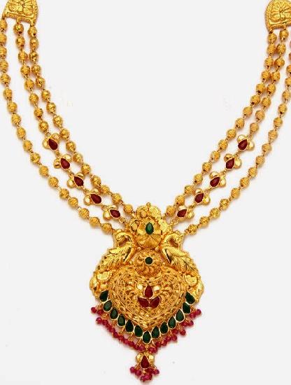 Jewellery Designs Gold Balls 3 lines Necklace Design