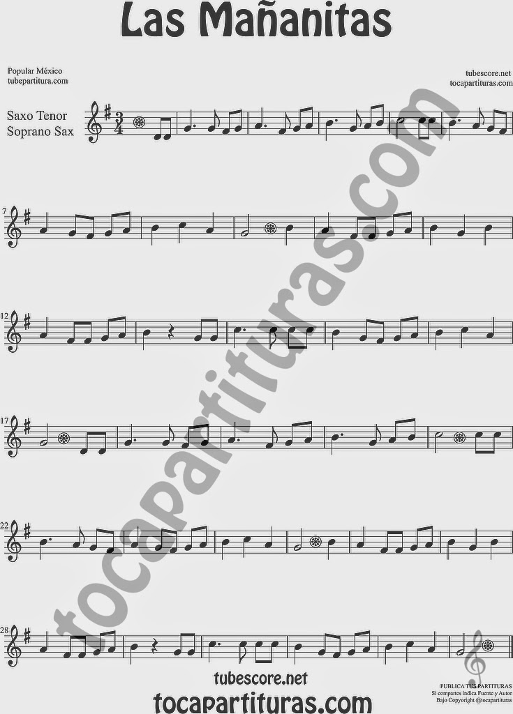 Las Mañanitas Partitura de Saxofón Soprano y Saxo Tenor Sheet Music for Soprano Sax and Tenor Saxophone Music Scores