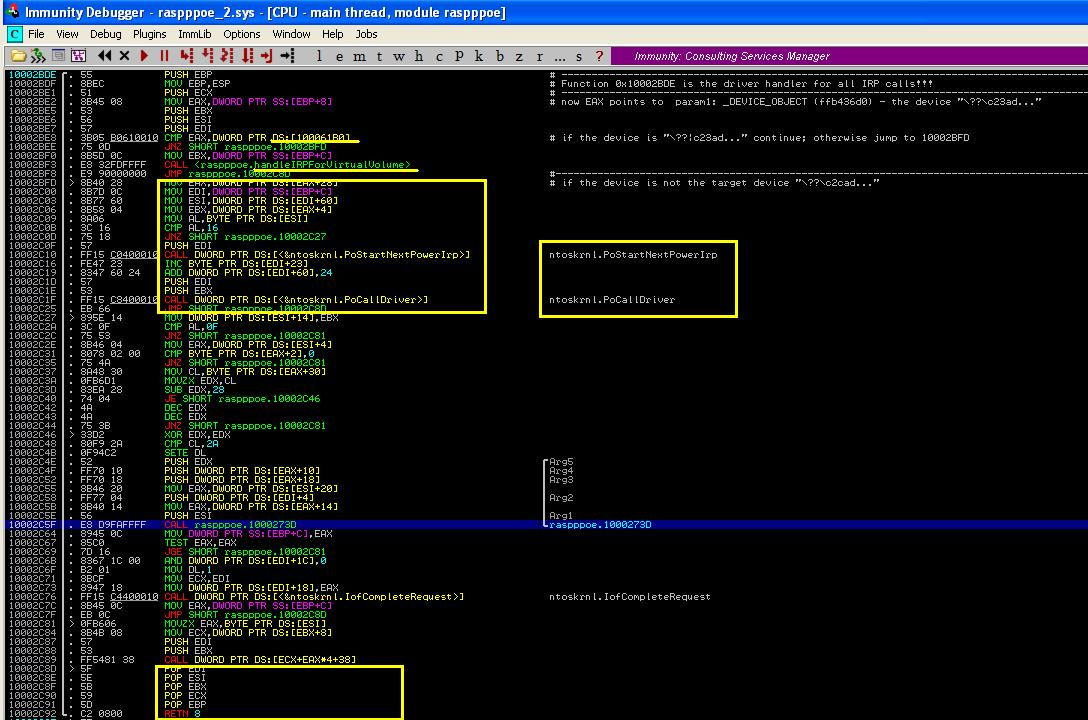 Malware Analysis Tutorial 22:  IRP Handler and Infected Disk Driver