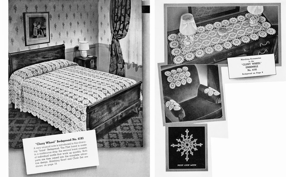 Filet Crochet Cluny Wheel Bedspread Pattern