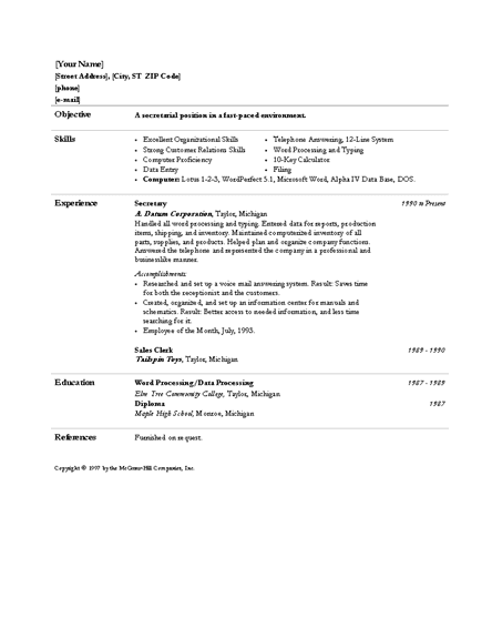 ... resume templates: Secretary and administrative assistant resume, Word