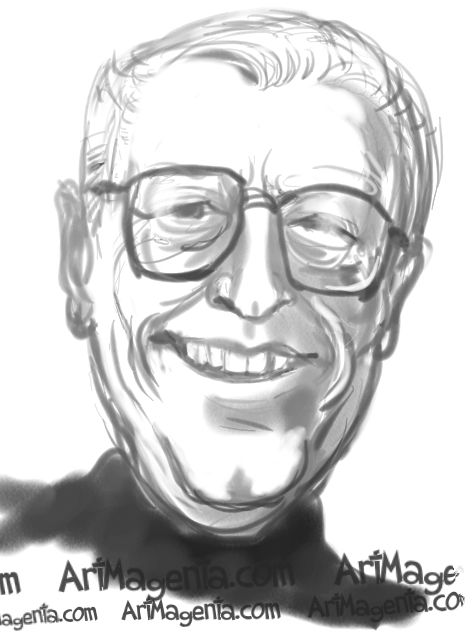 Charles Schulz caricature cartoon. Portrait drawing by caricaturist Artmagenta