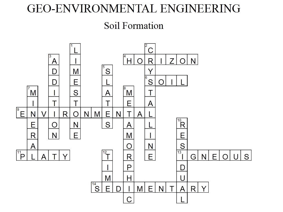 geo environmental engineering week 5 crossword puzzle