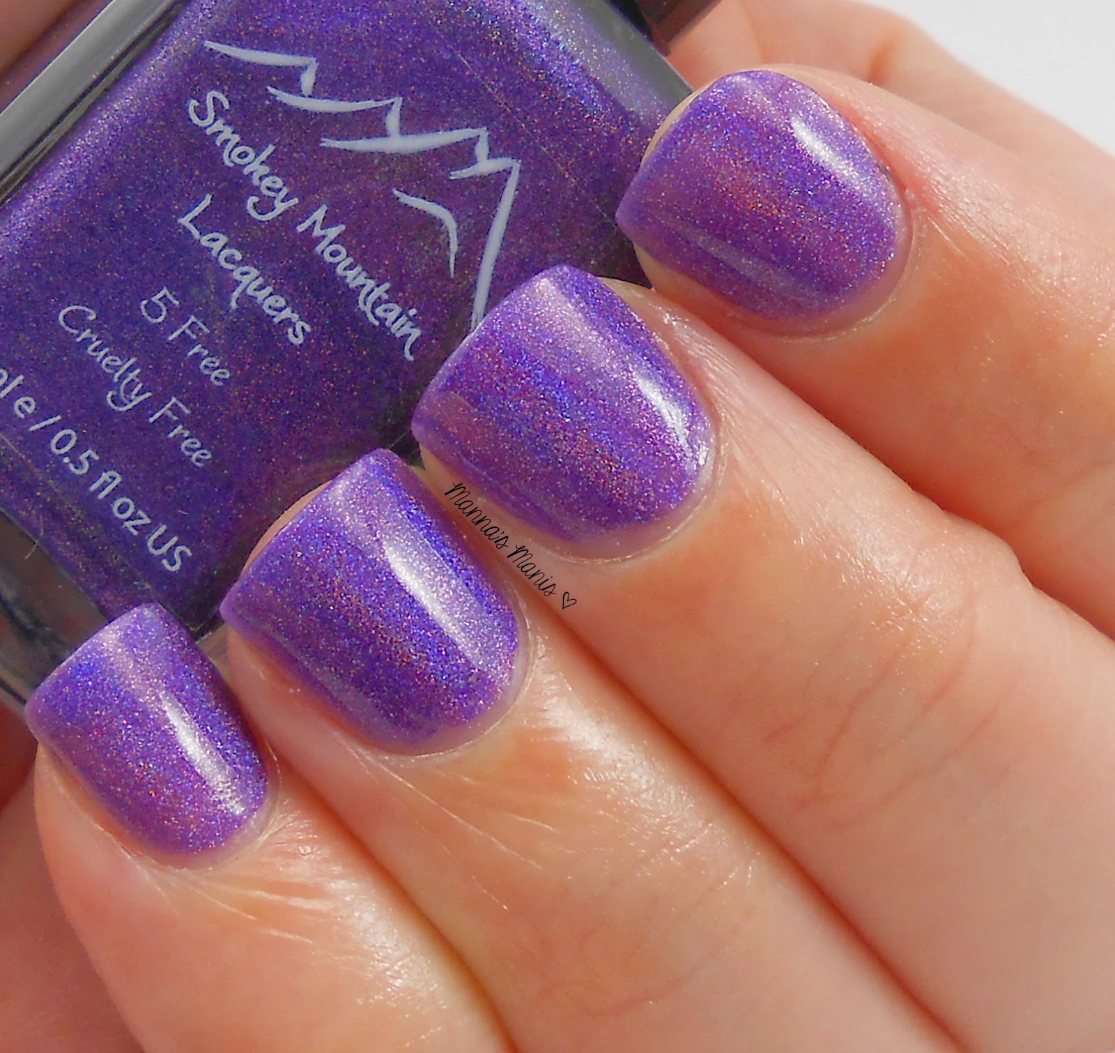 smokey mountain lacquers plumtastic, a purple holographic nail polish