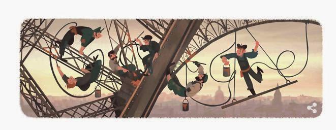 Google New 2015 Doodle For Eiffel Tower Public Open