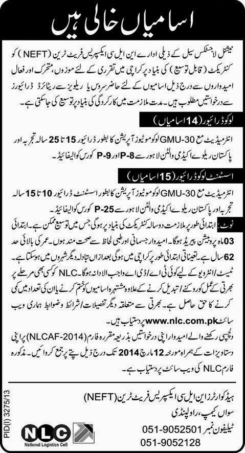 FIND JOBS IN PAKISTAN LOKO DRIVERS JOBS IN PAKISTAN LATEST JOBS IN PAKISTAN