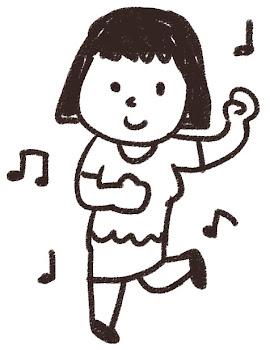 ダンスのイラスト「踊っている女の子」 白黒線画