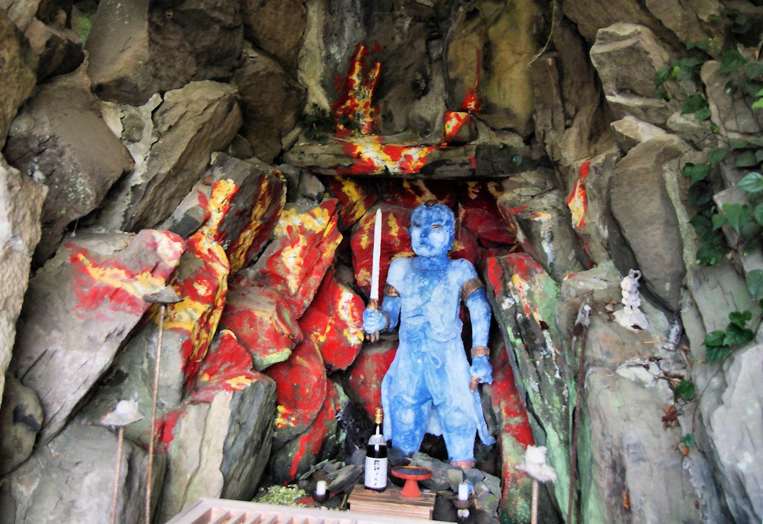 Fudo Myo statue painted bright blue