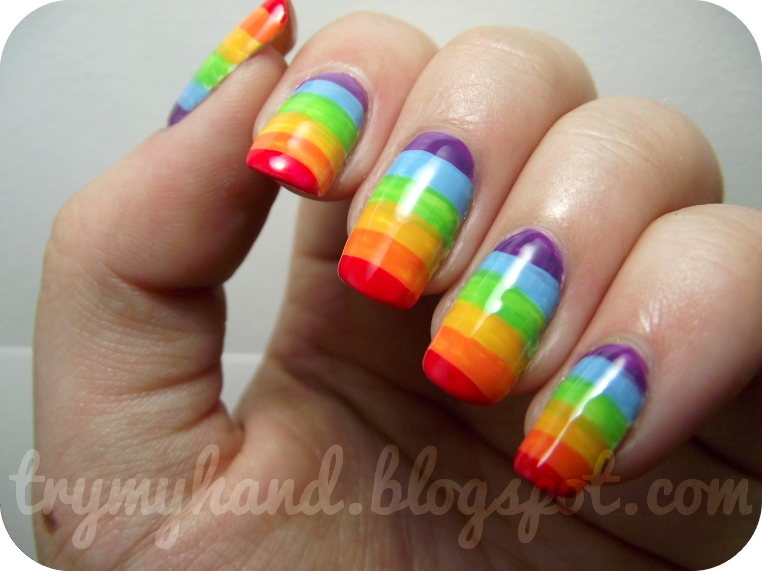 Try My Hand: NOTD : Rainbow Nails