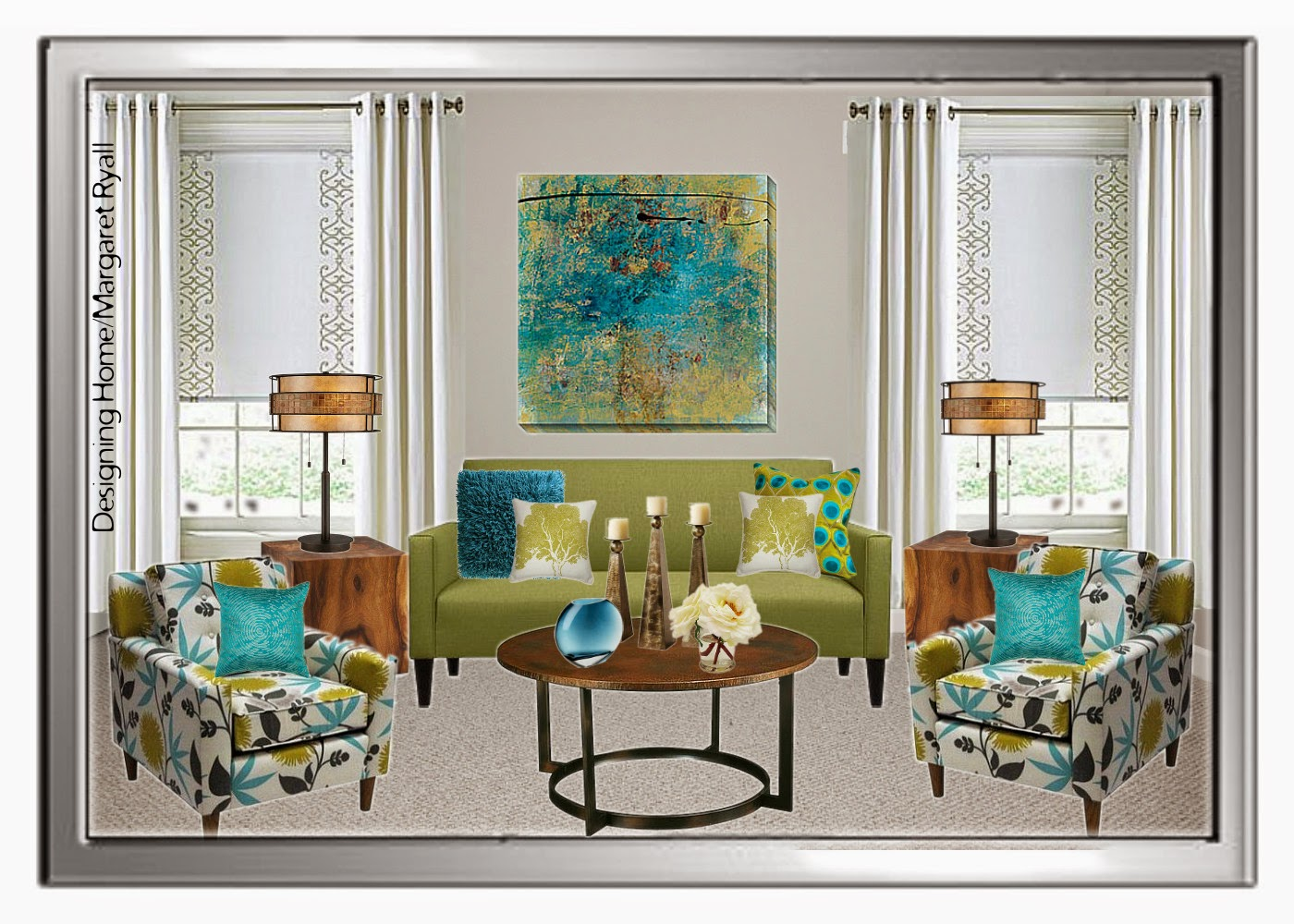 Turquoise Color Scheme Living Room Designing Home Choosing A Drapery Colour