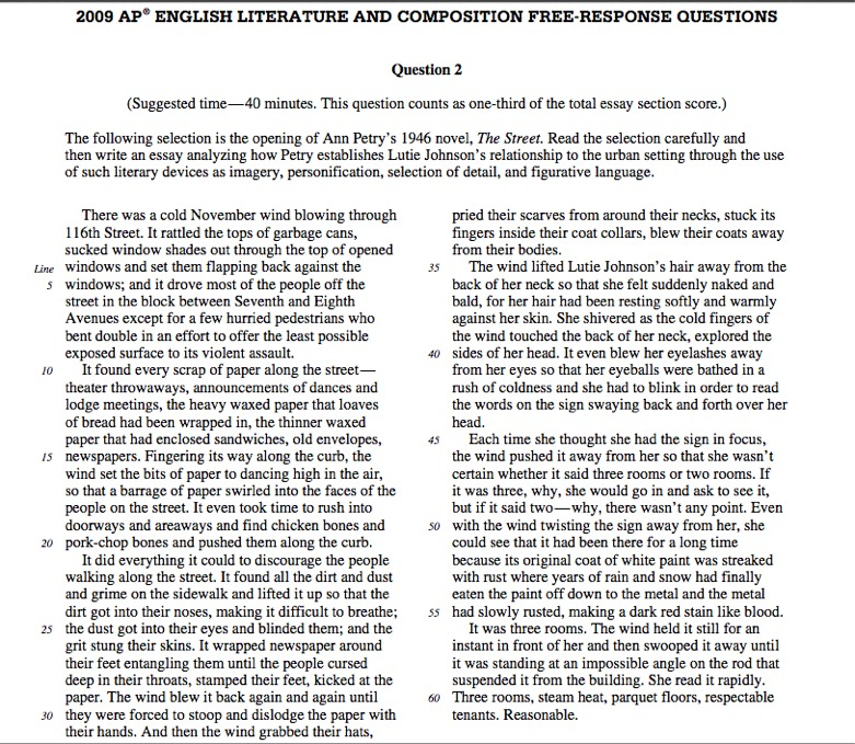 2009 ap literature free response sample essays