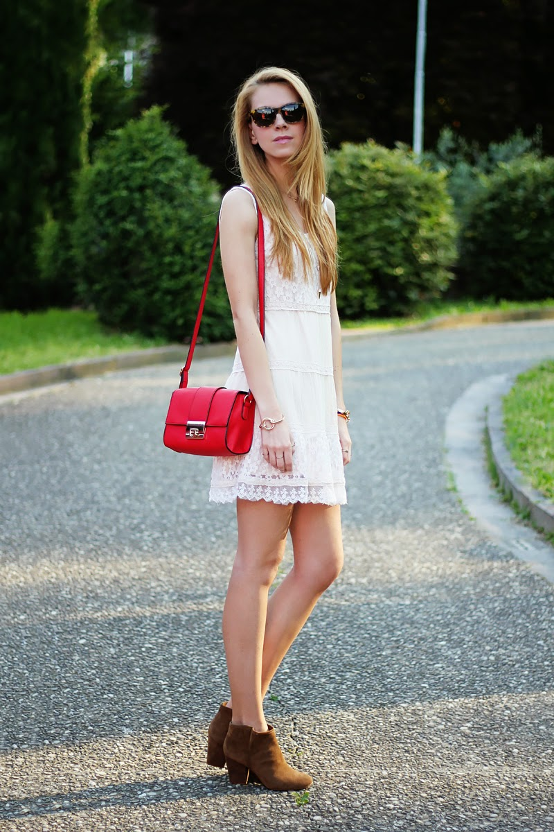 lace dress, cross-body bag, booties, summer outfit